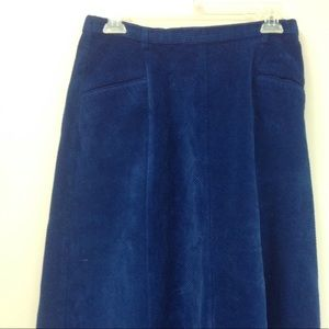 Orvis Royal Blue Corduroy Flare Long Skirt